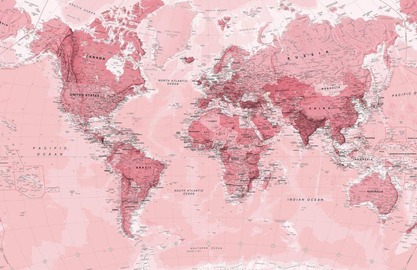 Pink World Map Wallpaper Mural World Map Wallpaper Map