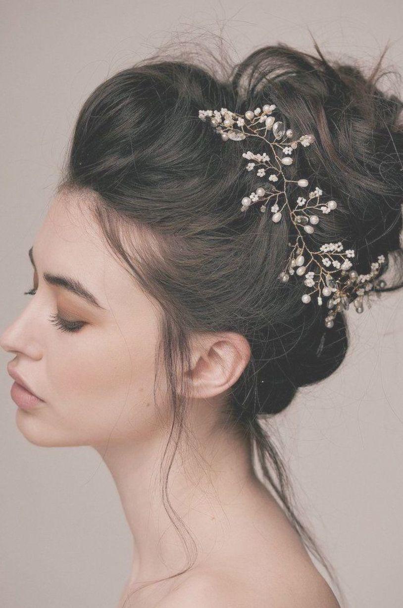 Wedding Hairstyles For Long Hair Black Hair In A Messy Bun Pearl Hair Accessory Grey B Wedding Hair Side Wavy Wedding Hair Wedding Hairstyles For Long Hair