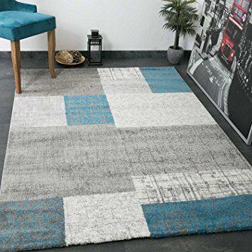 Designer Tapis Poils Courts En Turquoise Bleu Gris Et Blanc A