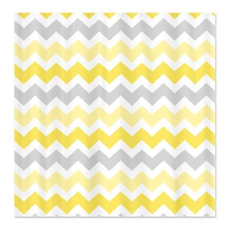 Yellow Grey Chevron Shower Curtain   Grey chevron, Gray and Kid ...