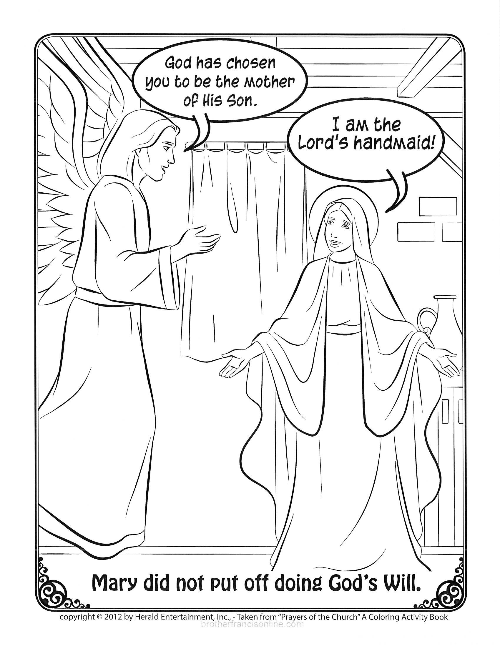 Mary Coloring Page The Visitation Of Mary Color Activities