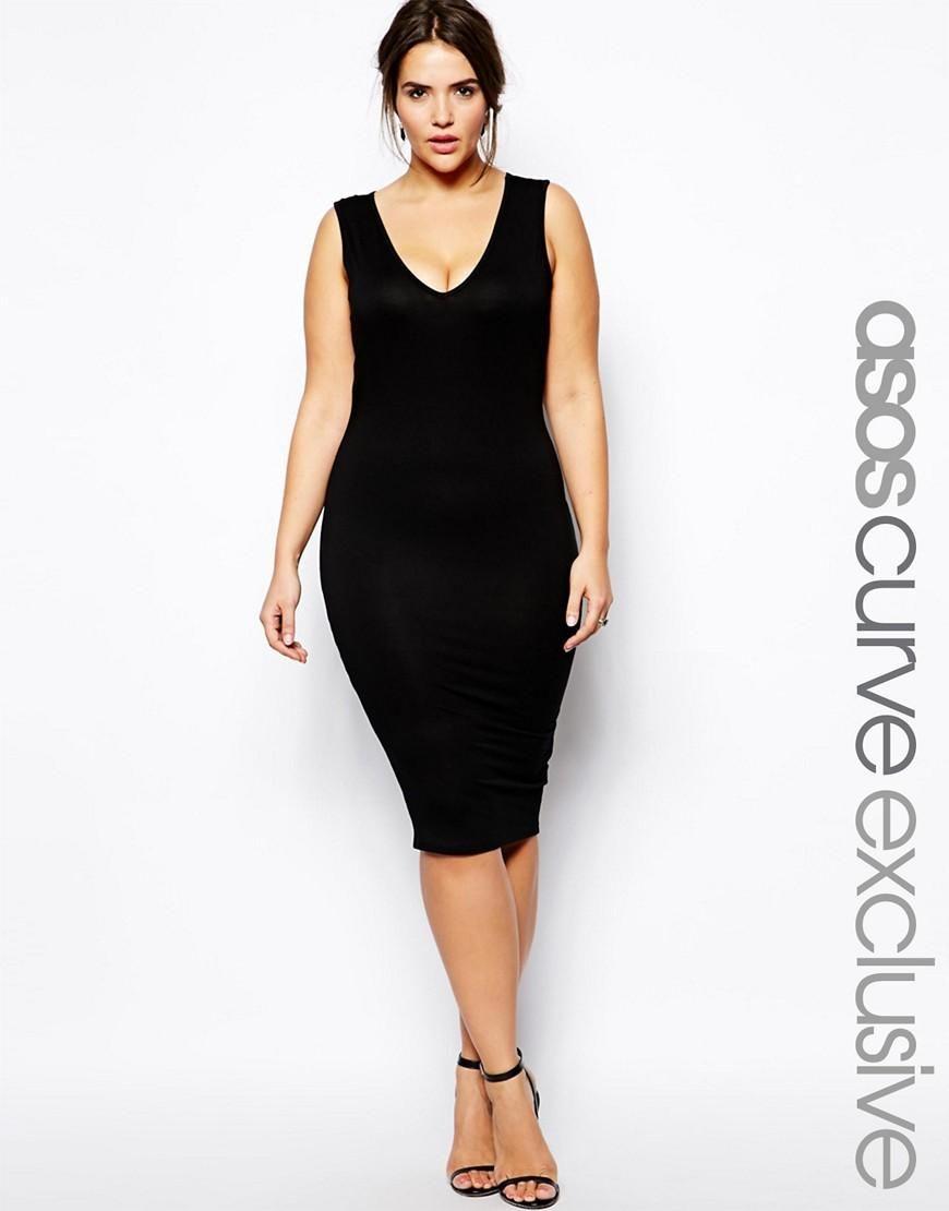 ASOS Curve  ASOS CURVE Midi Bodycon Dress With V-Neck at ASOS