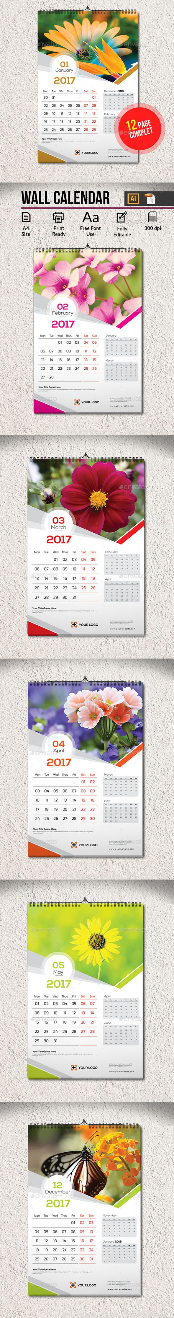 Wall Calendar  Ai Illustrator Calendar  And Illustrators