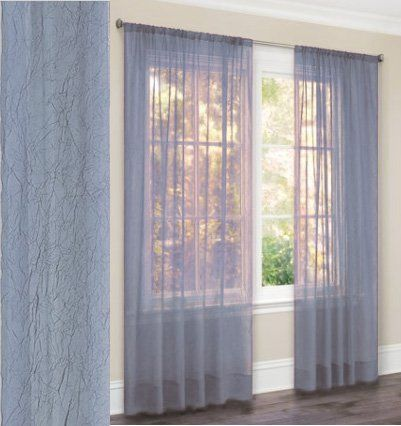 63 Long Crushed Sheer Curtain Panel Light Blue By Moshells 6 98 For A Standard Size Window 23 To 36 Inches Wide Burgundy Curtains House Blinds Curtains