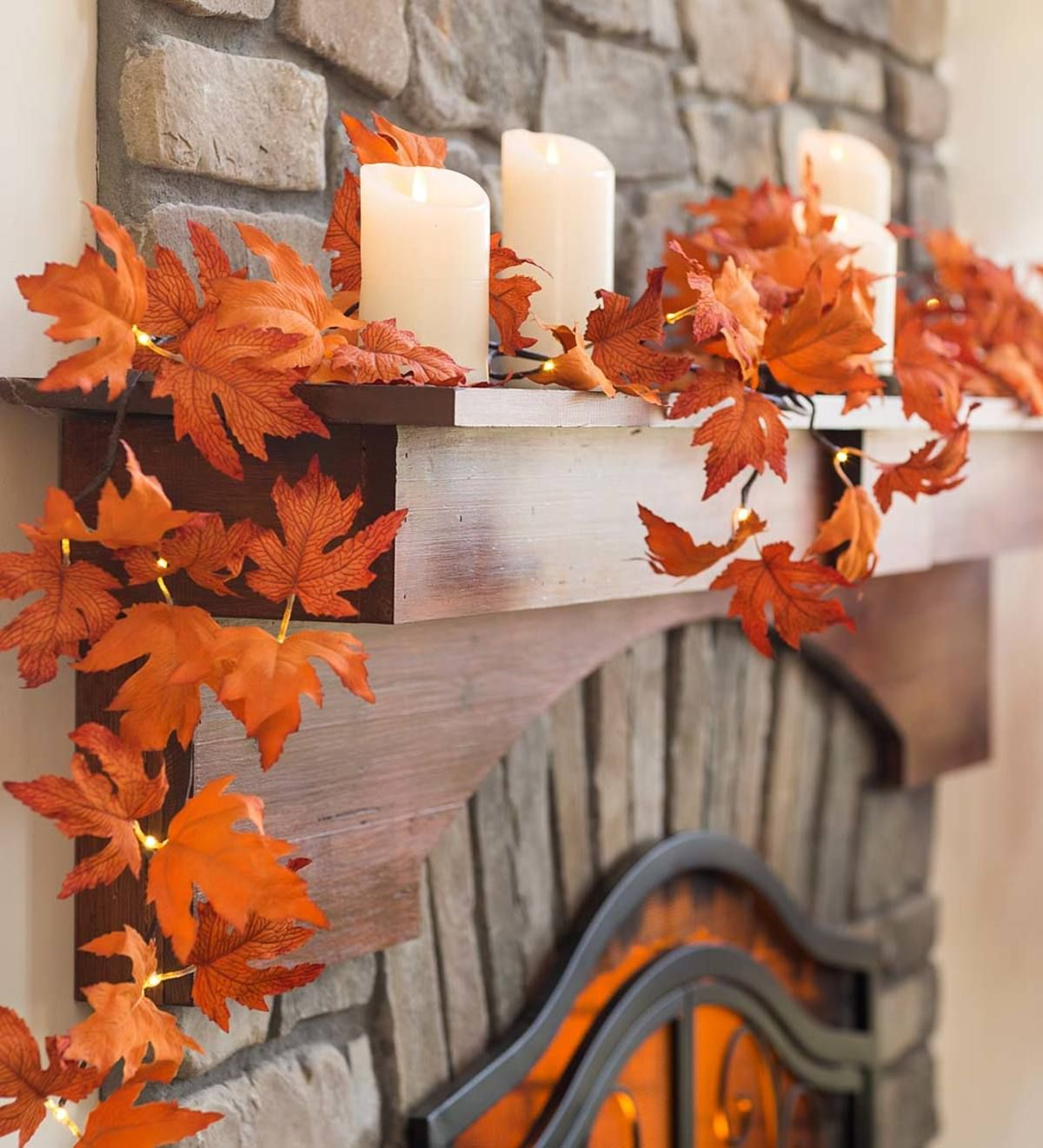 Our Indoor Outdoor Lighted Maple Leaf Garland Adds Brilliant Seasonal Style Anywhere With Its Realistic Foliage And Led Ligh Leaf Garland Fall Accents Garland