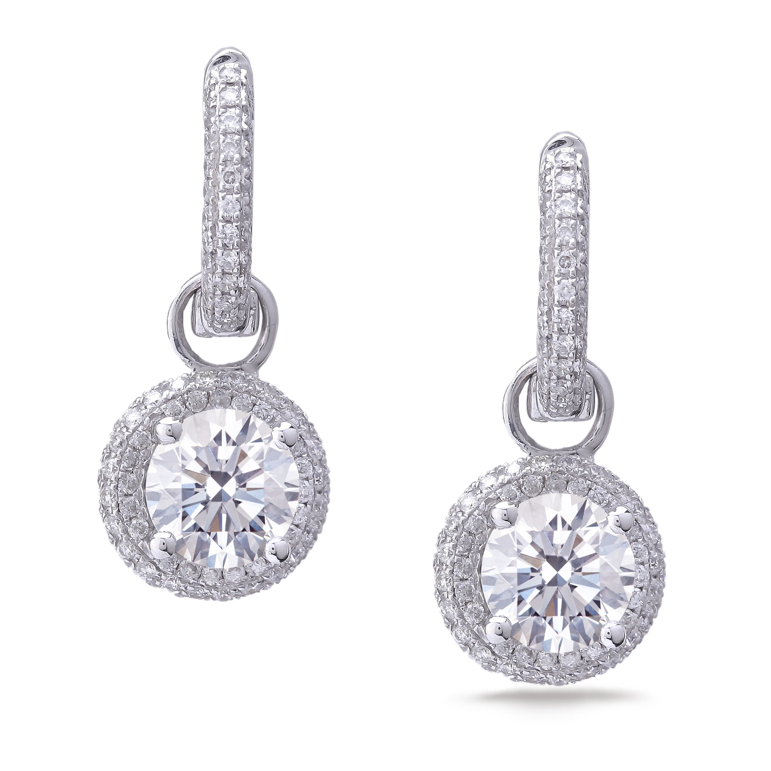 product cluster b turned rectangular shape earrings pear diamond