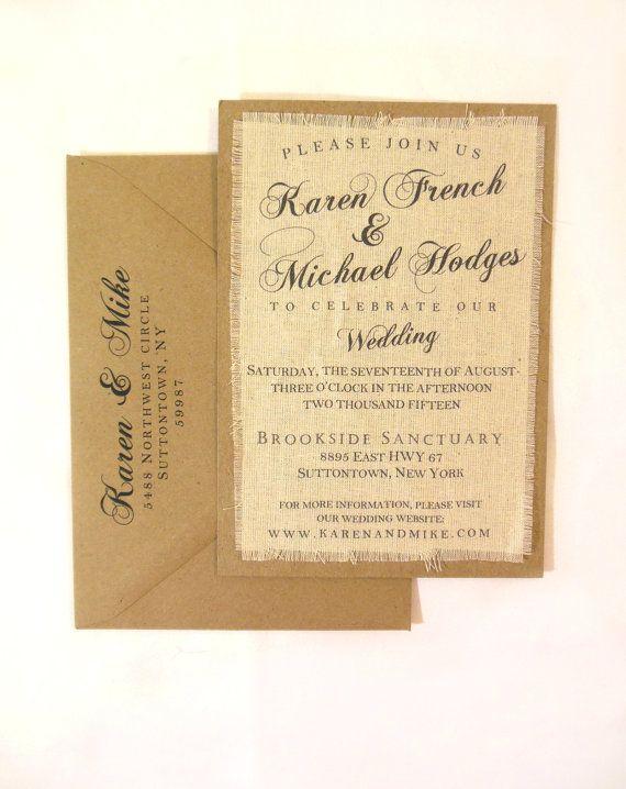 Rustic Boho Fabric Wedding Invitation Wedding Invitations