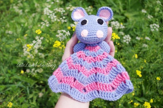 Crochet Hippo, crochet security blanket, crochet lovey, amigurumi crochet toy, crochet blanket, crochet baby toy, crochet animals, plush toy #crochetsecurityblanket