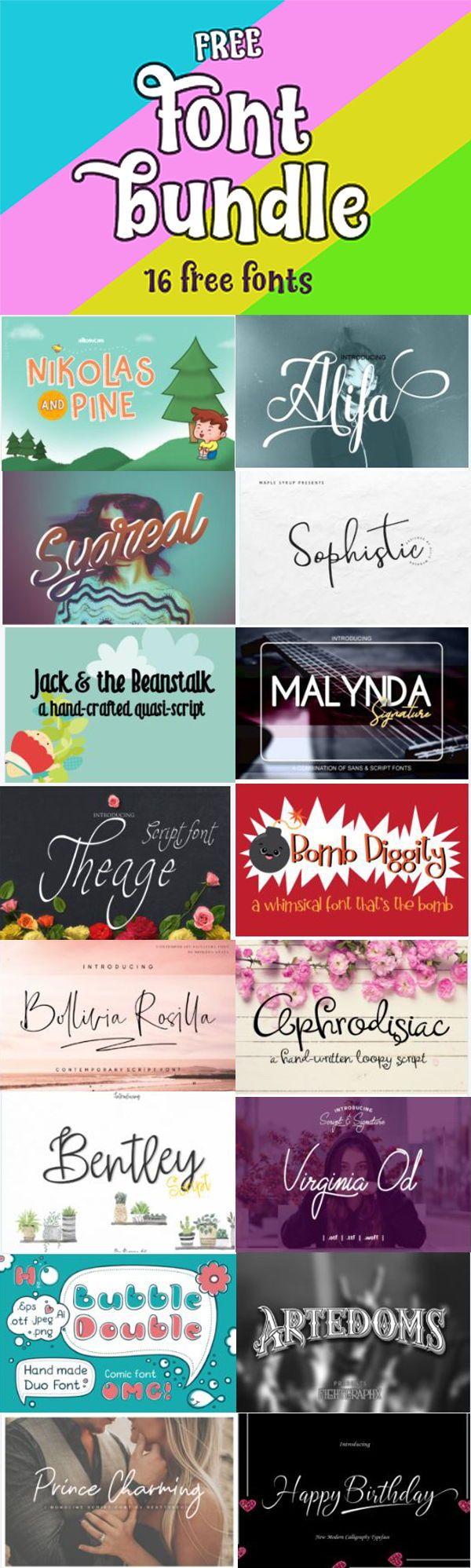 Download Free Font Bundle Vol. 7 (Bundle) · Creative Fabrica | Free ...