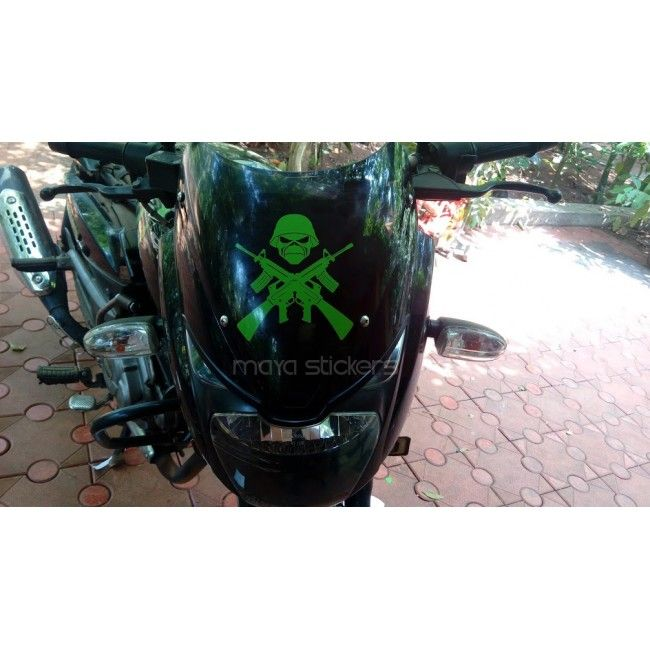 Crossed Guns And Skull Sticker Decal For Cars Bikes Laptop