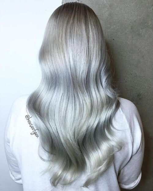 Long Silver Hairstyle For Women Fashion Make Up Nails And Hair