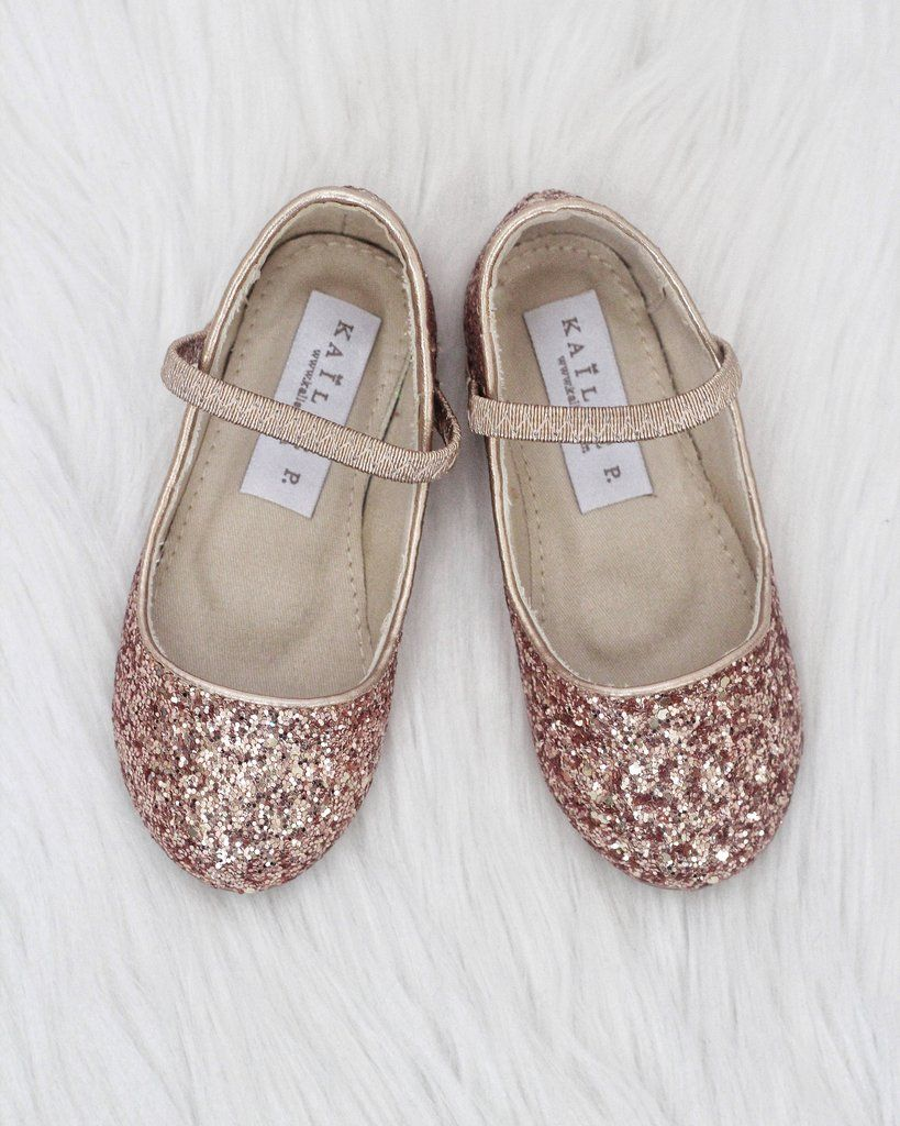 e40bf1de2959 Girls Shoes ROSE GOLD Rock Glitter Maryjane Ballet Flats