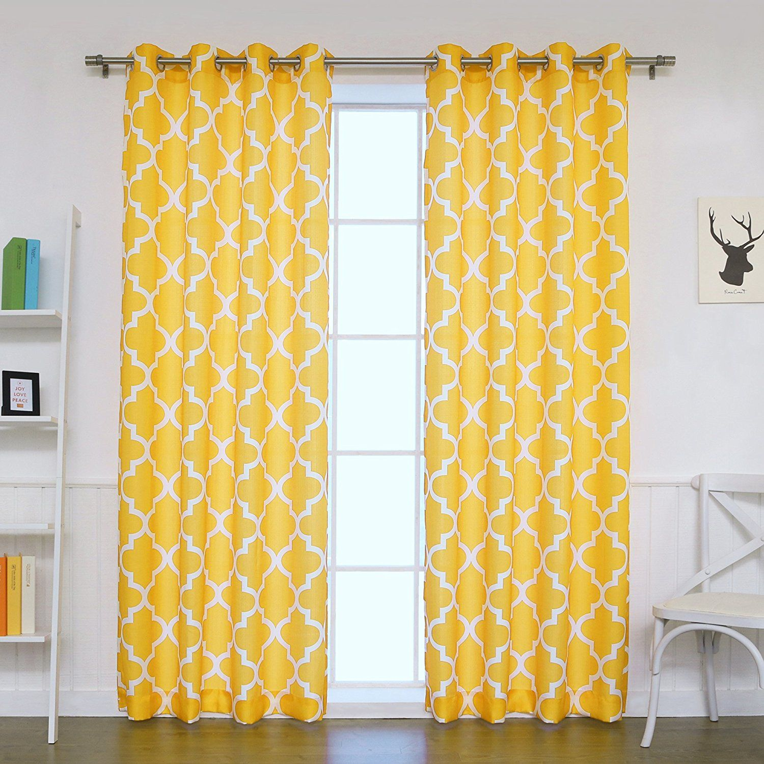 Best Home Fashion Oxford Basketweave Moroccan Print Curtains Stainless Steel Nickel Grommet Top Yellow
