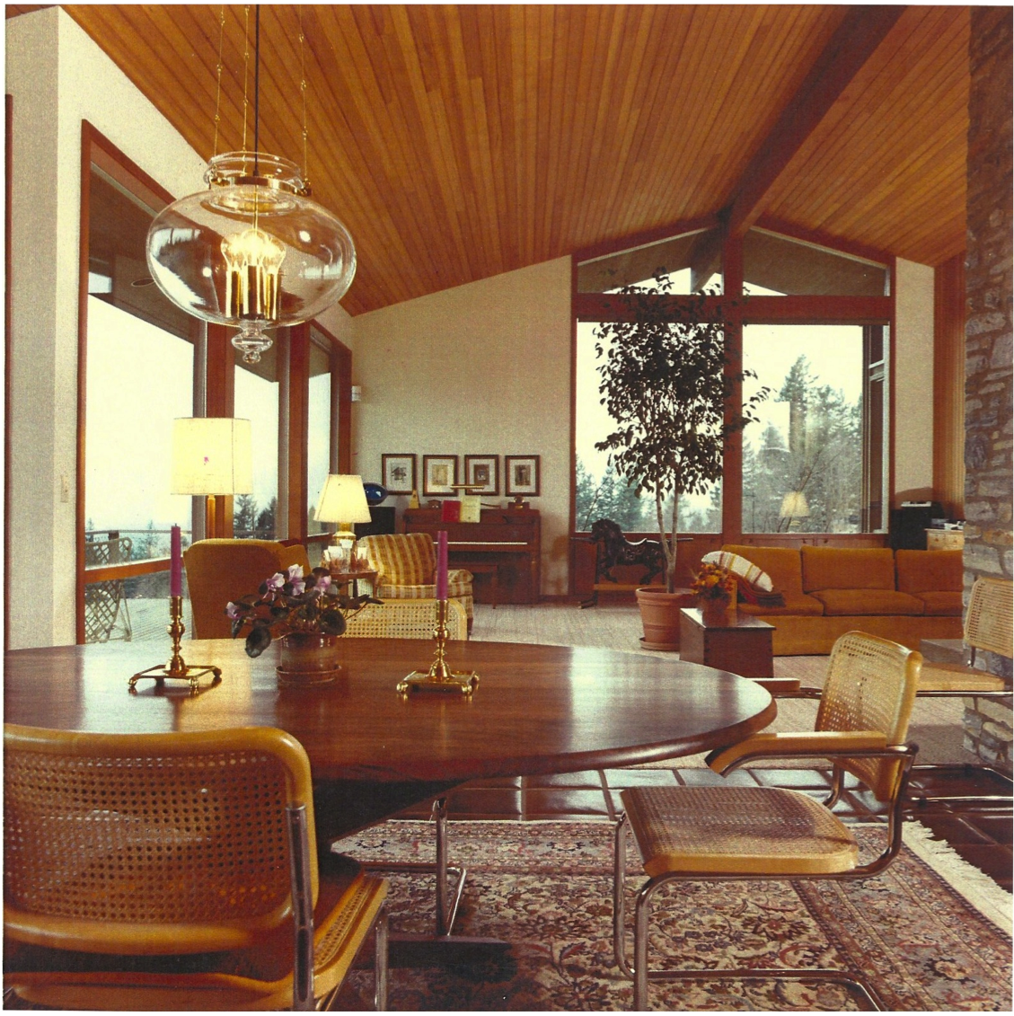 Interior of the papworth house c 1980 the home was featured on restore oregons 2014 mid century modern belluschi house tour