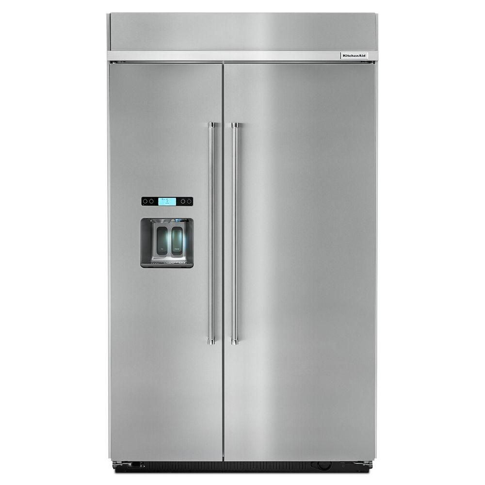 kitchenaid 29 5 cu ft built in side by side refrigerator in rh pinterest com