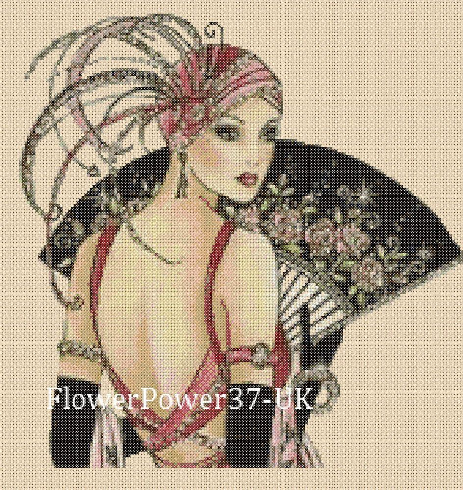 Cross stitch chart Art Deco Lady 11