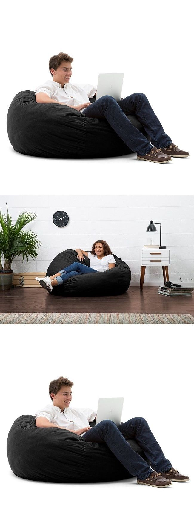 bean bags and inflatables bean bag chair lounger large oversized fur foam filled comfortable - Oversized Bean Bag Chairs