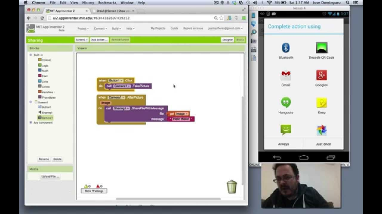 MIT App Inventor Sharing Component Programar Android