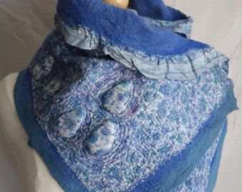 Neck wrap, scarf ,neck warmer, nuno felted scarf felted neck piece necklet neck warmer original design in blue - Edit Listing - Etsy