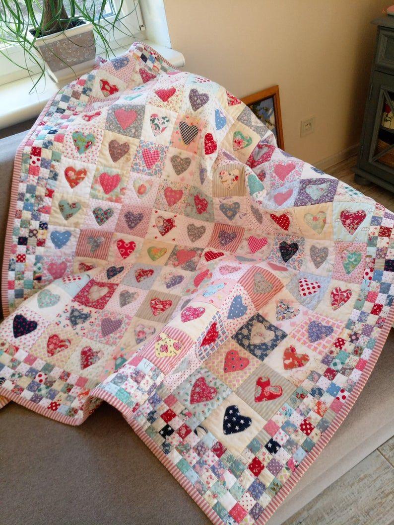 Herz Quilt Baby Patchwork Quilt Handgemachte Moderne Quilt Etsy Baby Patchwork Quilt Modern Baby Quilt Baby Quilts