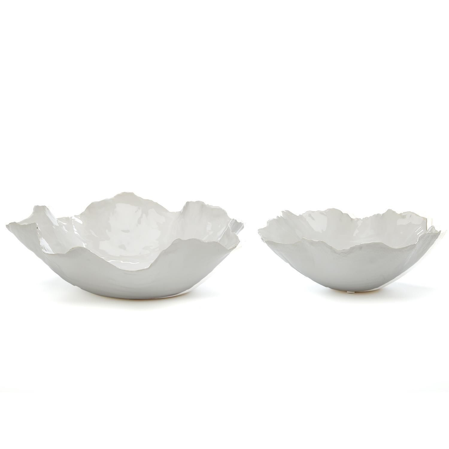 Set of 2 White Free Form Bowls - (Shipping Late Ap