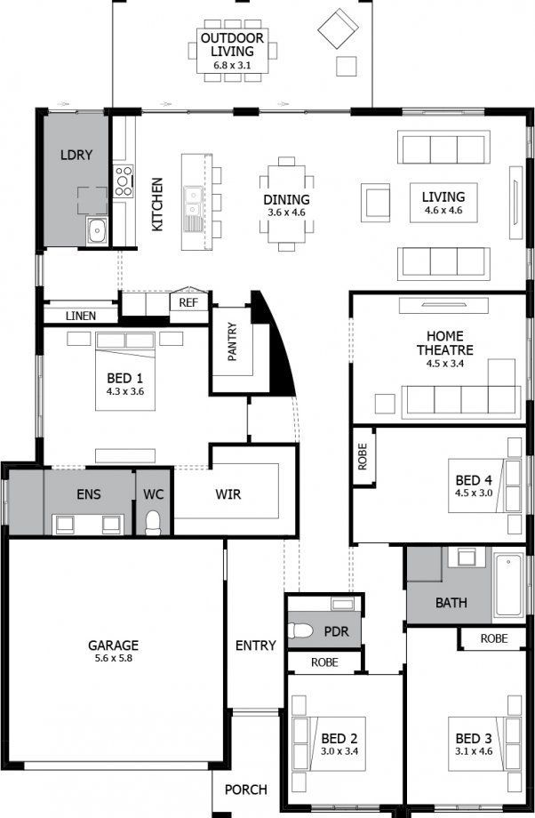Mojo Homes Atrium Floor Plan Swap Bed 2 3 4 With Theatre Add Loft Above Bedrooms Home Design Floor Plans Loft Plan Dream House Plans