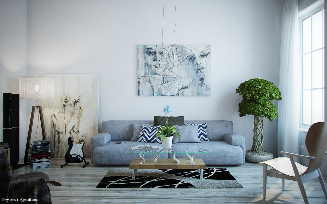 Artistic White Contemporary Living Room With Weathered Grey Wood Floor And Blue Sofa Home Interior Design Ideas