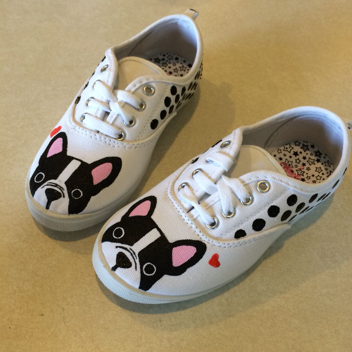 French Bulldog Painted Sneakers Frenchie Shoes Painted Sneakers Diy Shoes Painted Shoes