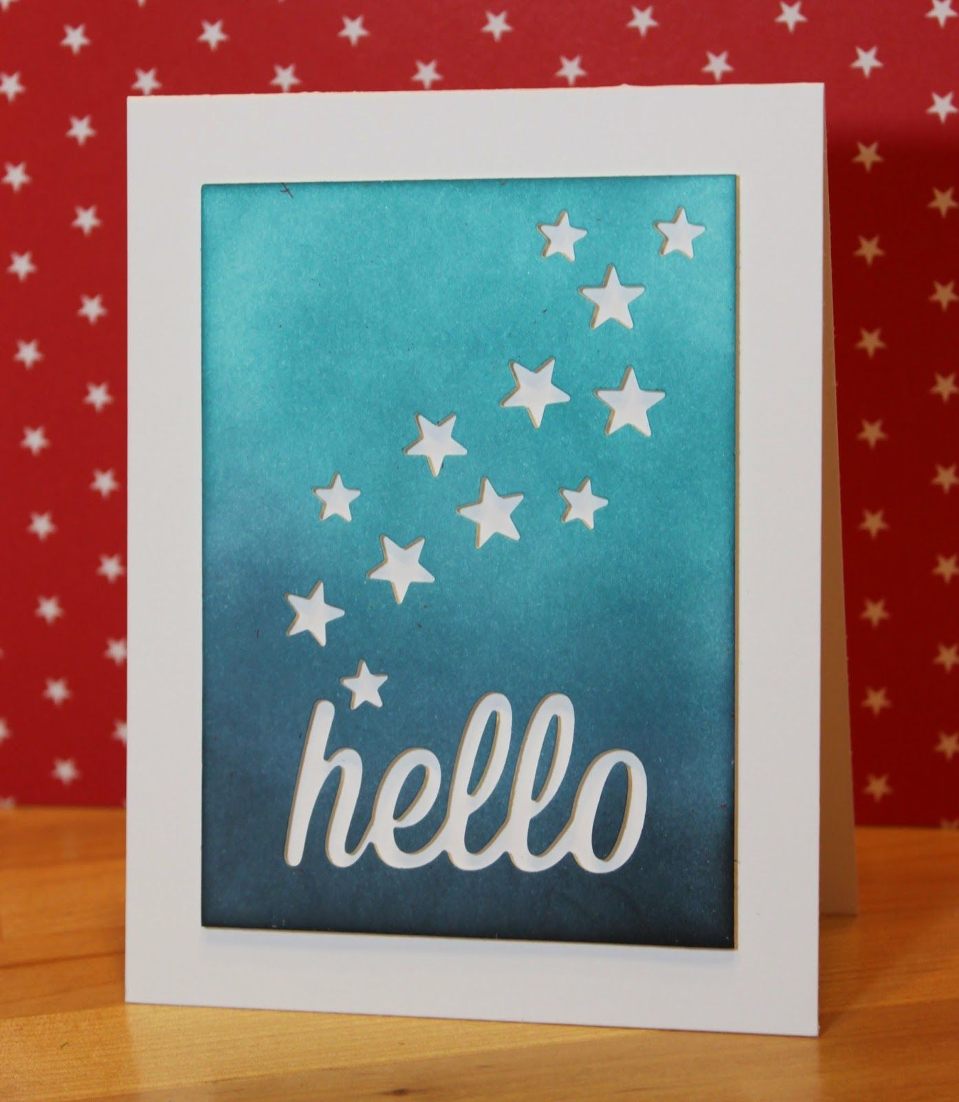 Handmade greeting card from whats next sponged panel with handmade greeting card from whats next sponged panel with negative space die cuts hello and little stars m4hsunfo