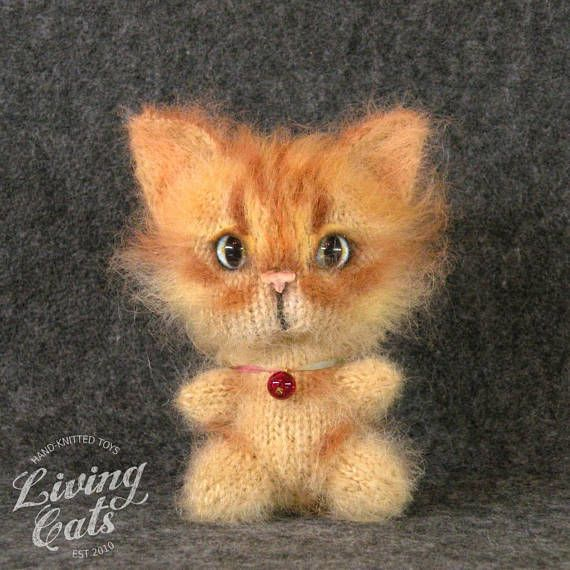 Ginger Cat Plushie Knit Stuff Animal Cat Lover Toys Toy Pet