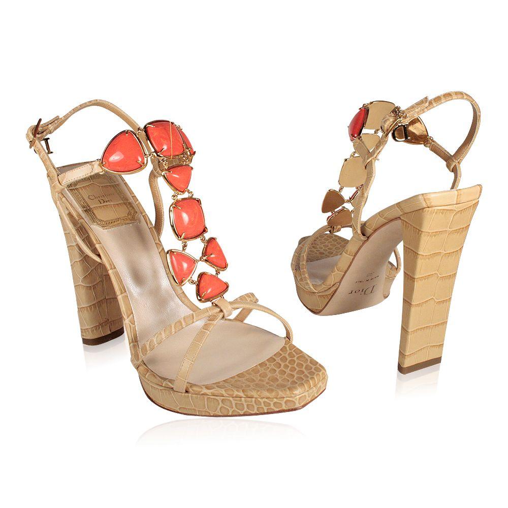 a26bcffc5c6 Christian Dior Shoes jeweled high heel Croc Sandals Beige (CDW74 ...