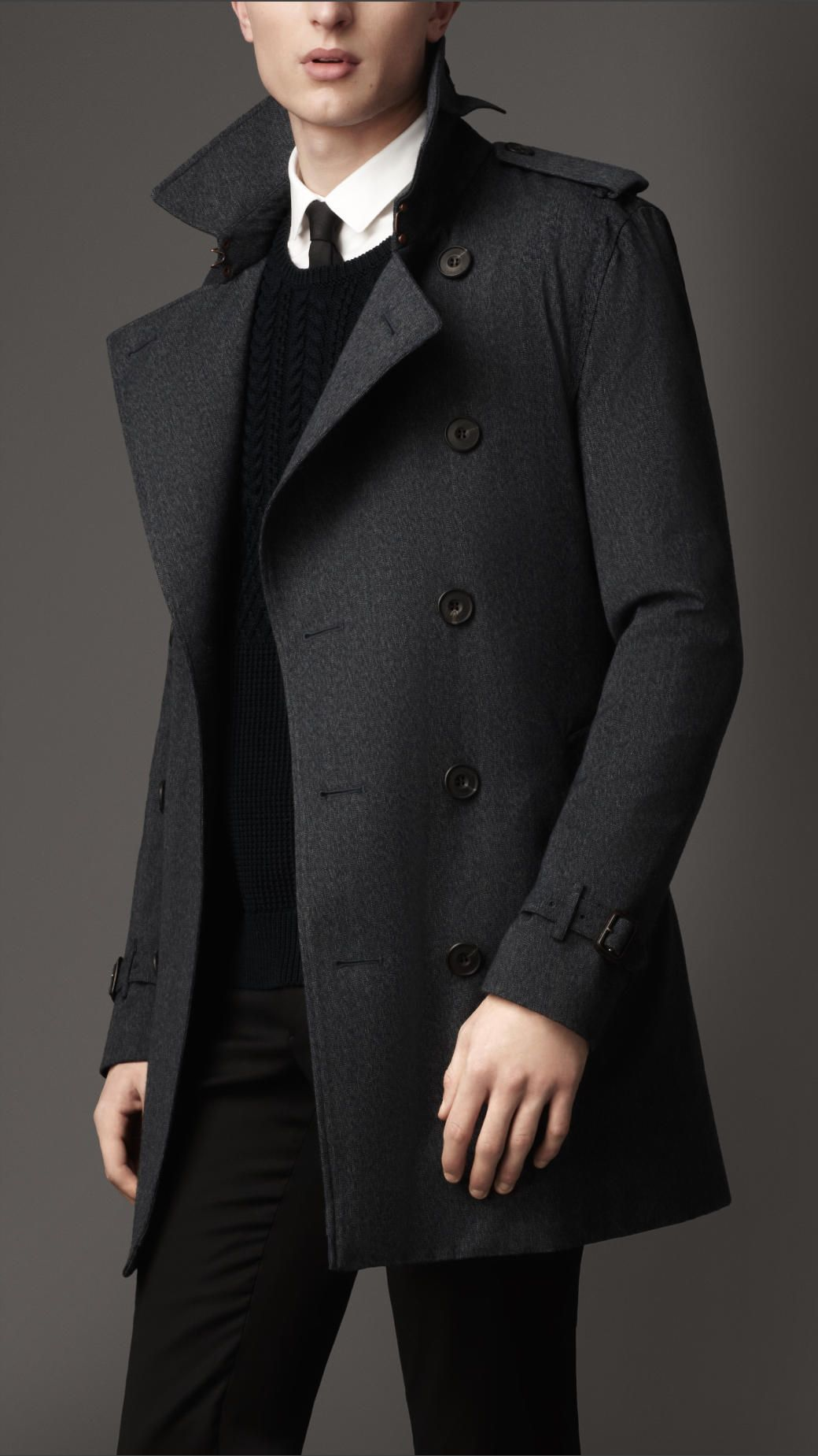 fe9feff69a5 Mid-Length Technical Wool Trench Coat