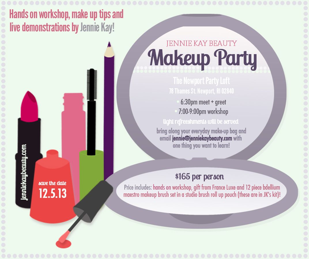 Makeup Party Invitation Design with Lipstick Eyeliner Nail – Mary Kay Party Invitation