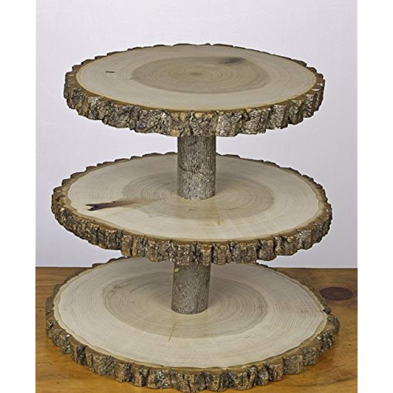 3 tier tree slice display stand rustic wedding cupcake