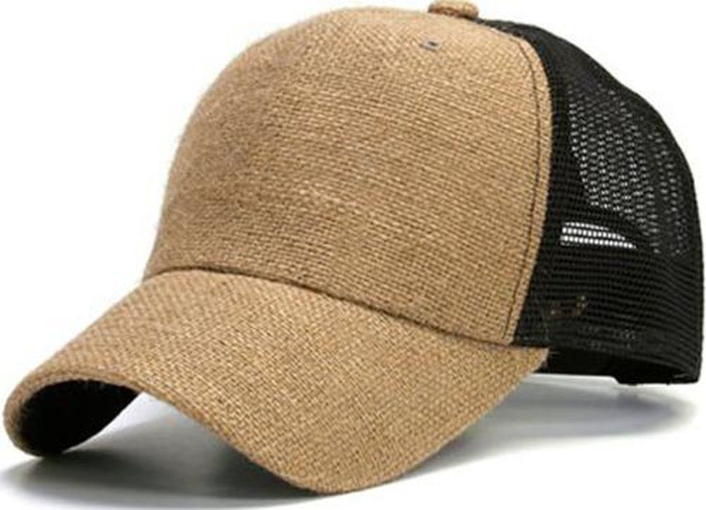 f387e1a96bf Unisex Style Burlap Mesh Trucker Cap Hat