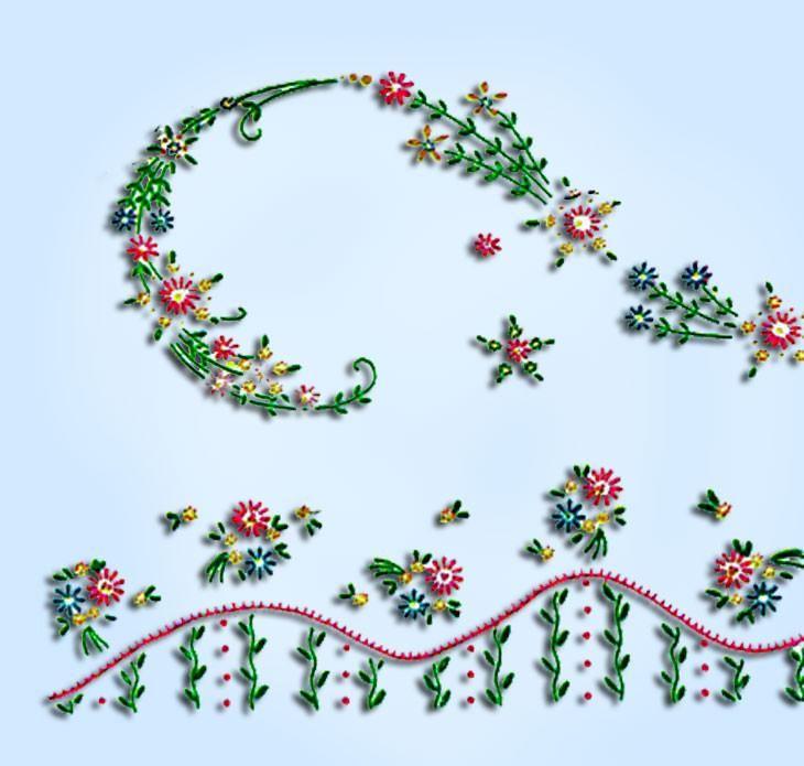 1950s Vintage Vogart Embroidery Transfer 275 Uncut Small Floral Pillowcase Motif
