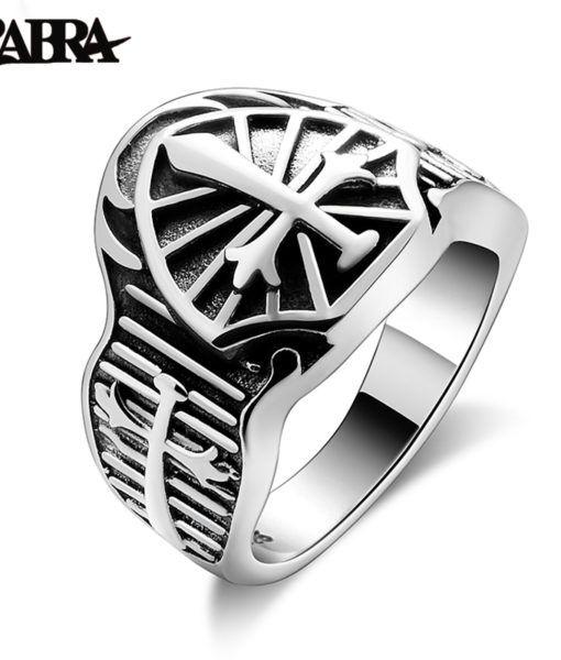 Pentagrama 925 Sterling anillo de plata Baphomet sello anillo