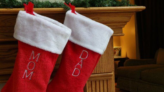 Embroidered Personalized Christmas Stocking, Large Red  White