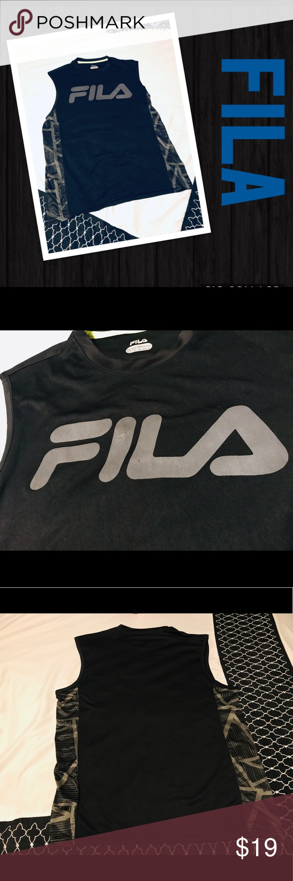 0342ad26eef6 🎾FILA Sports Sleeveless Athletic Running Shirt 🎾 FILA Sports Men's  Grey/Black Sleeveless Athletic Running Shirt, Size Large. Pre-owned.