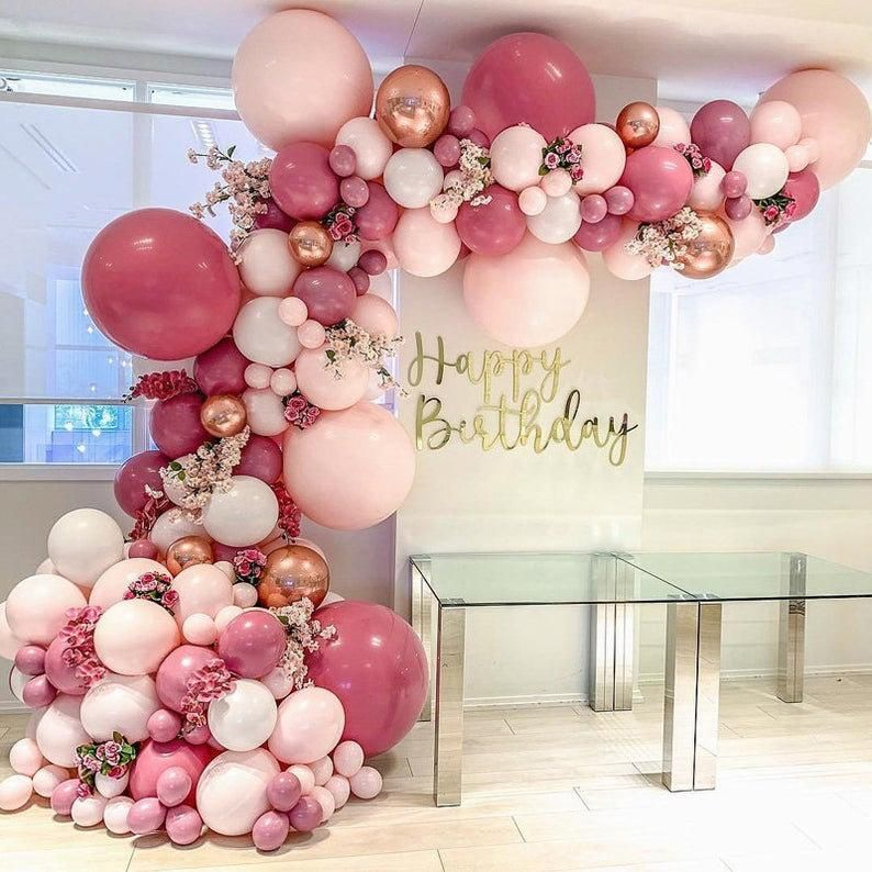 DIY Retro Dusty Pink Balloon Garland Arch Kit Rose Gold White Balloons for Birthday Baby Shower Weddings Party Decoration
