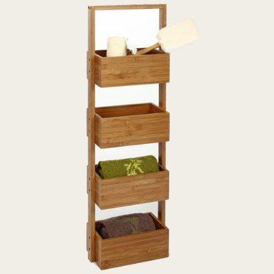Meuble rangement 4 paniers en Bambou idéal pour la salle de bain ...