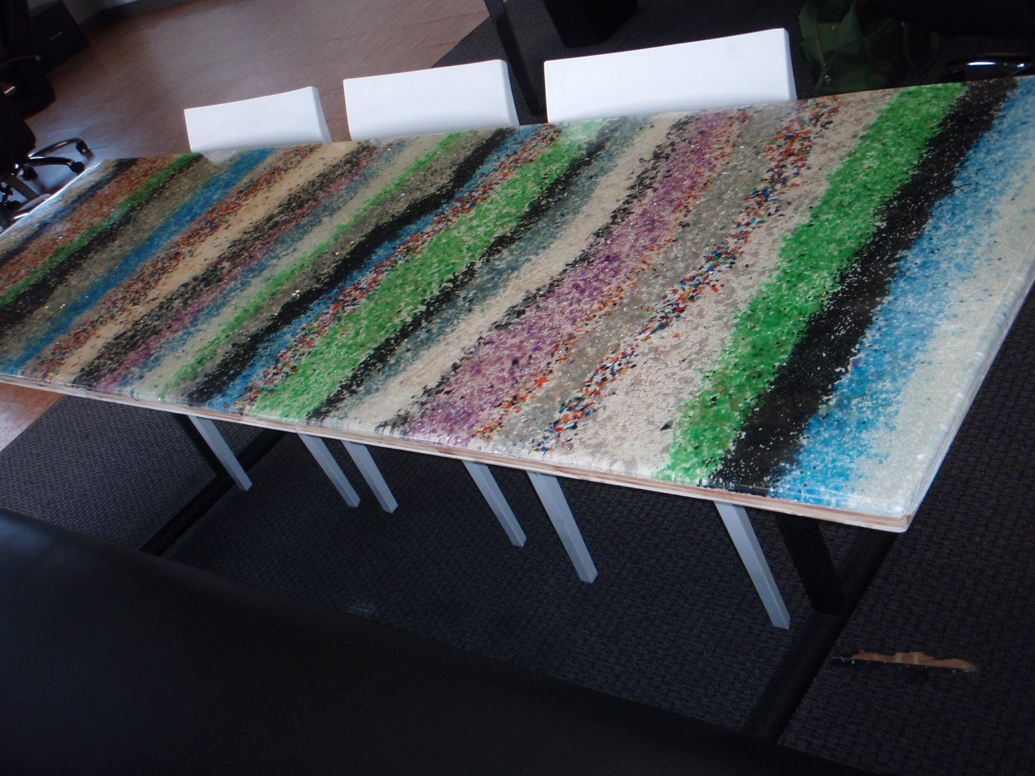 Recycled Materials Poured Resin Table Top Custom Sizes