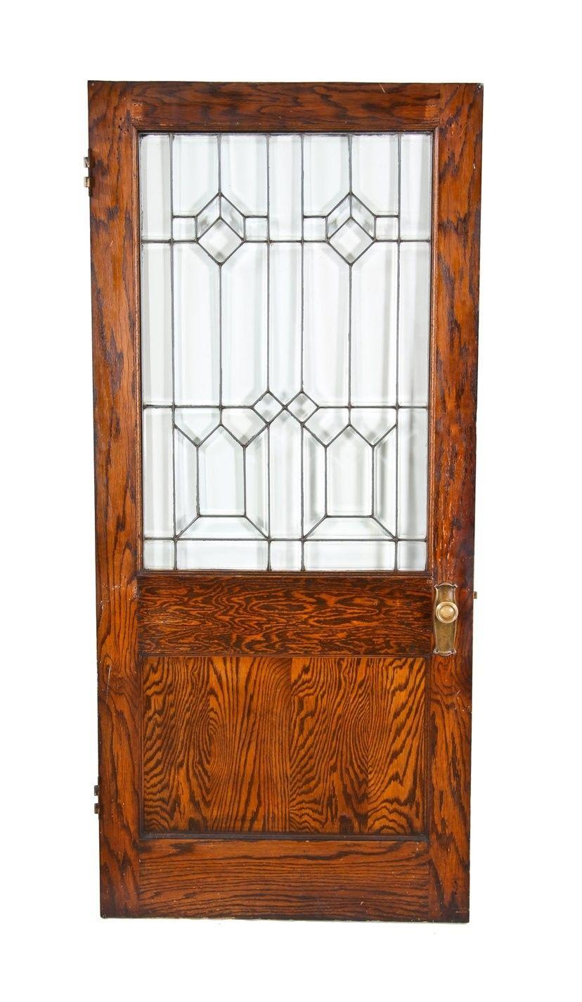 Nicely Weathered And Worn C 1950 S Vintage American Industrial Single Sided Entrance Wood Door Beveled Glass Doors White Oak Wood