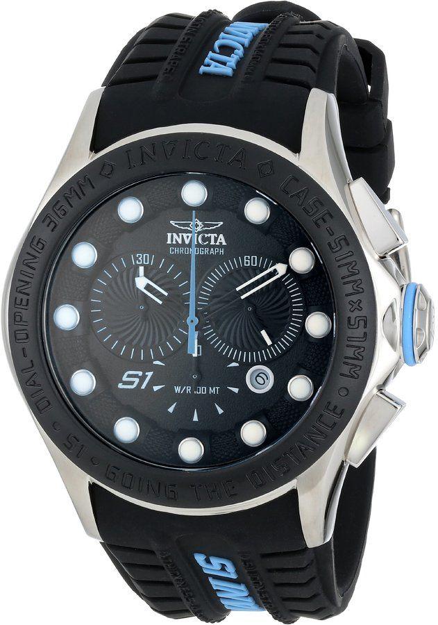 Invicta Men's 10841 S1 Rally Chronograph Black Dial Black Silicone Watch