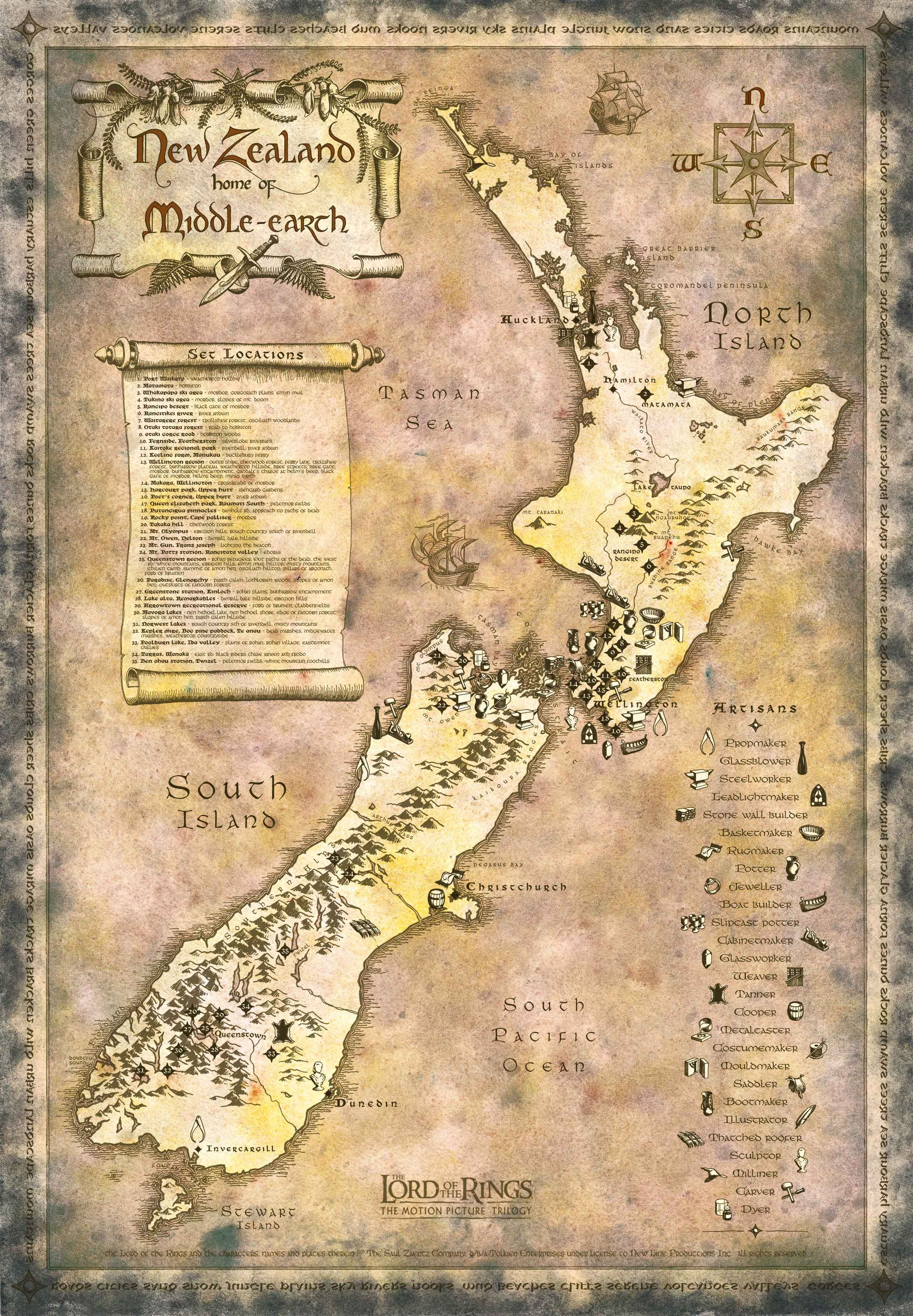 New Zealand Map LOTR style contains detailed set locations for