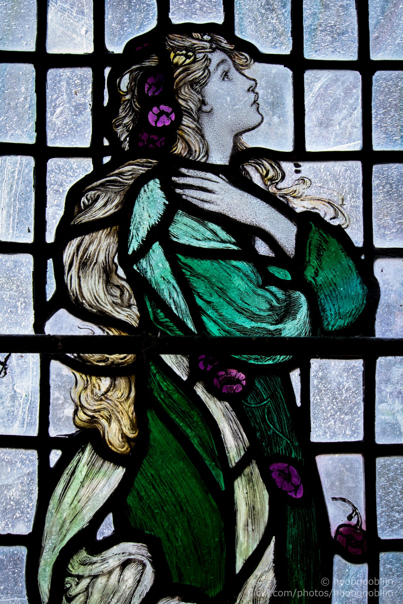 https://flic.kr/p/rdndpL | Hope 1938 | Stained glass window by Louis Davis 1938 depicting Hope. Based on his wife Edith Webster. Part of a set of 3 windows at All Saints Church, Longstanton, Cambridgeshire, UK.