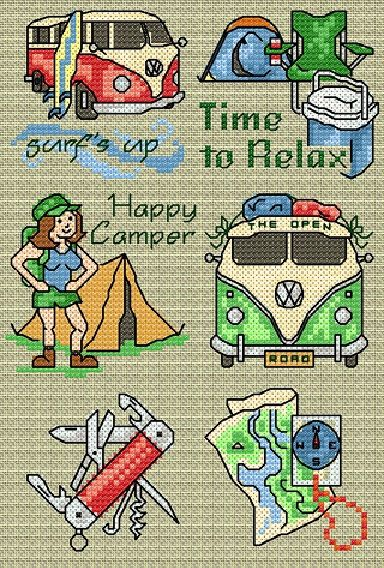 0 point de croix campeuse camping - cross stitch  camper