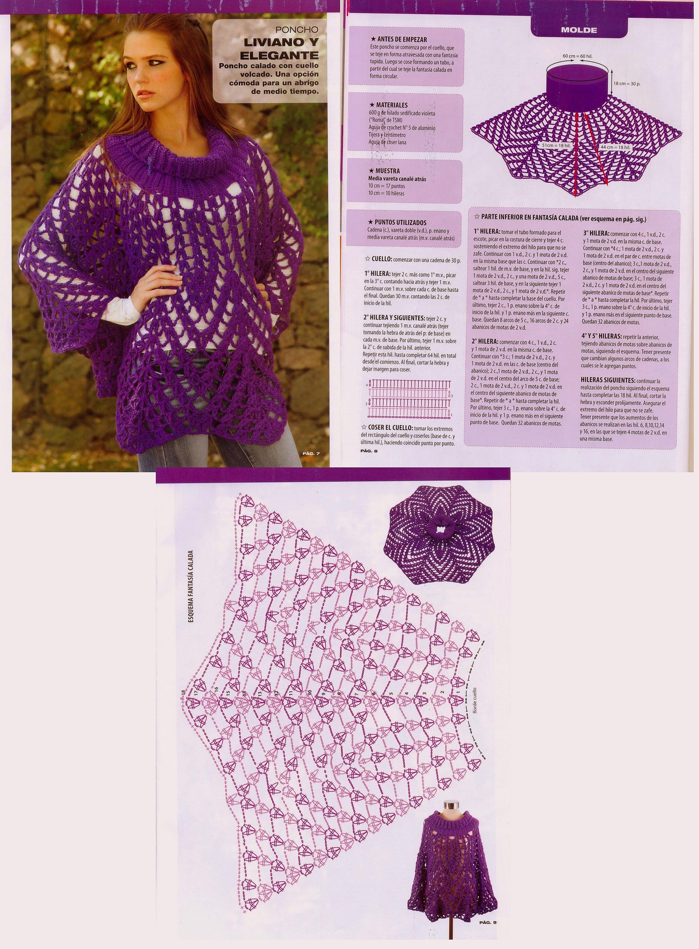 Poncho Calado | ( 1 ) Szydełkowe bluzki | Pinterest | Patrones ...