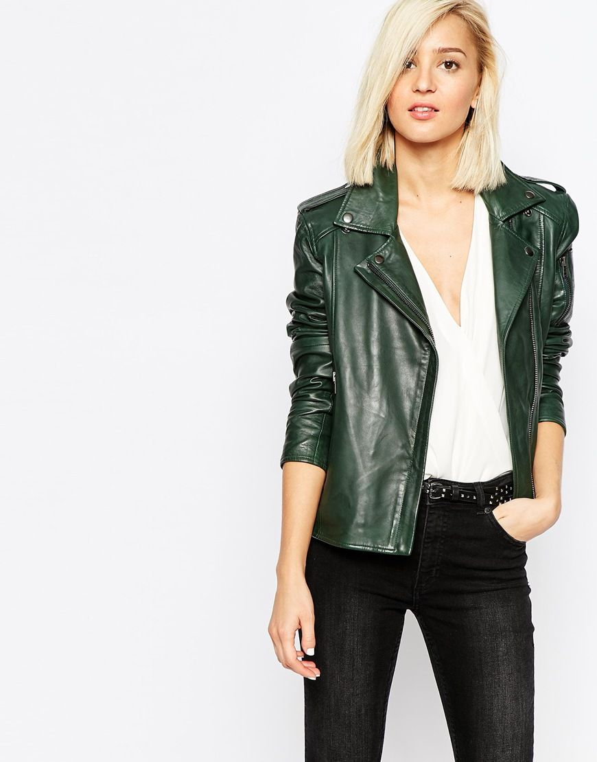 asos perfecto green leather jacket veste cuir. Black Bedroom Furniture Sets. Home Design Ideas