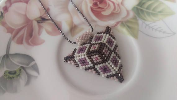 Purple Triangle Beadwork Necklace Purple and Pink Beadwork